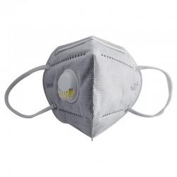 Masca profesionala cu valva expiratie, 6 straturi filtrante KN95 FFP2, filtru carbon activ, set 5 bucati