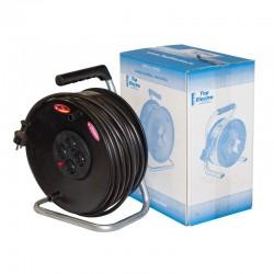 Derulator cablu H05VV-F 50m cu siguranta si tambur cu suport metalic